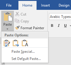 Pilihan paste microsoft word
