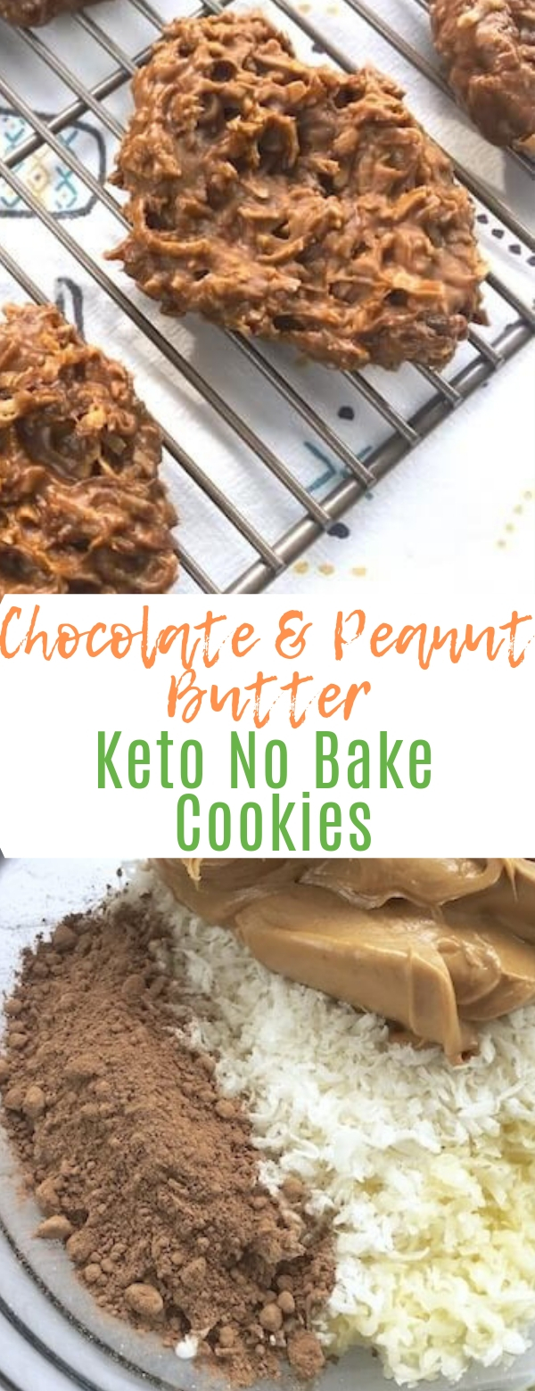Chocolate & Peanut Butter Keto No Bake Cookies  #chocolate #peanutbutter #keto #nobake #cookies #snack #delicioussnack