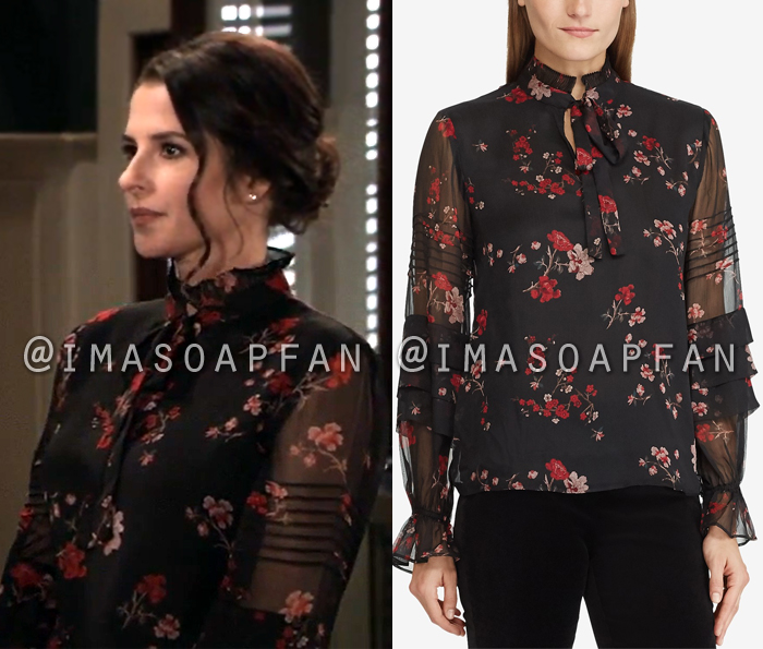 Sam McCall, Kelly Monaco, Black and Red Floral Tie-Neck Blouse, General Hospital, GH