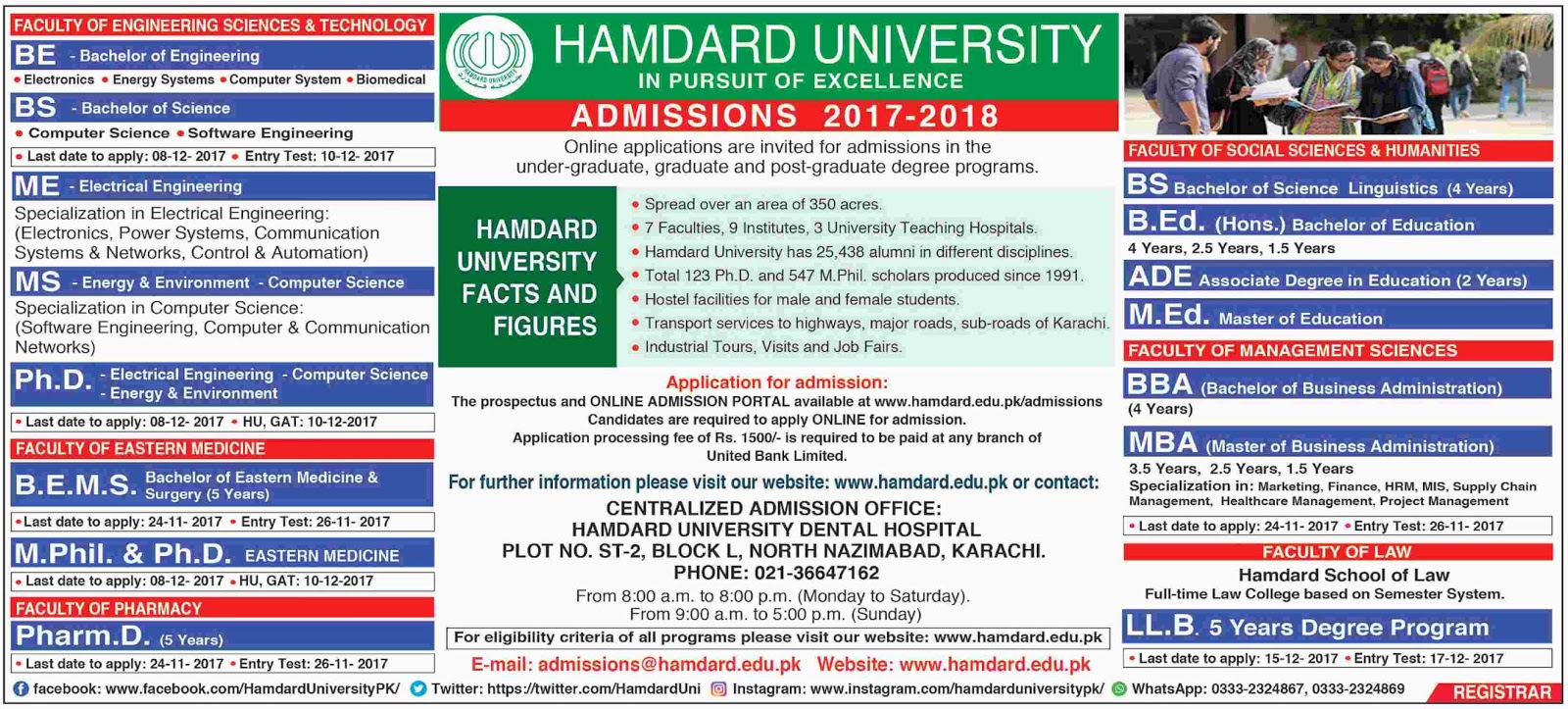 Admissions Open in Hamdard University Karachi