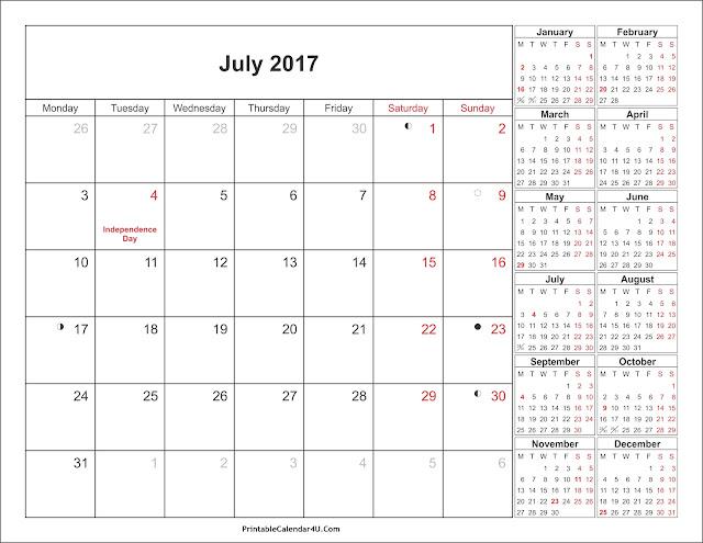 July 2017 calendar, July calendar 2017, calendar july 2017