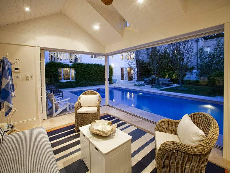 Hamptons pool house in the heart of sydney for Pool design hamptons