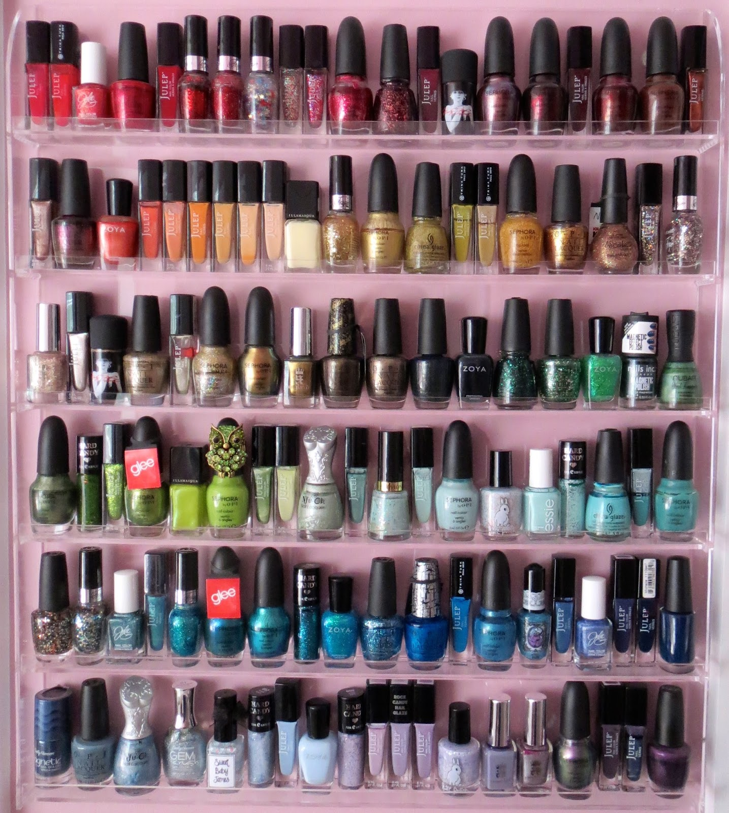 Nail Polish Organized By The Colors Of Rainbow