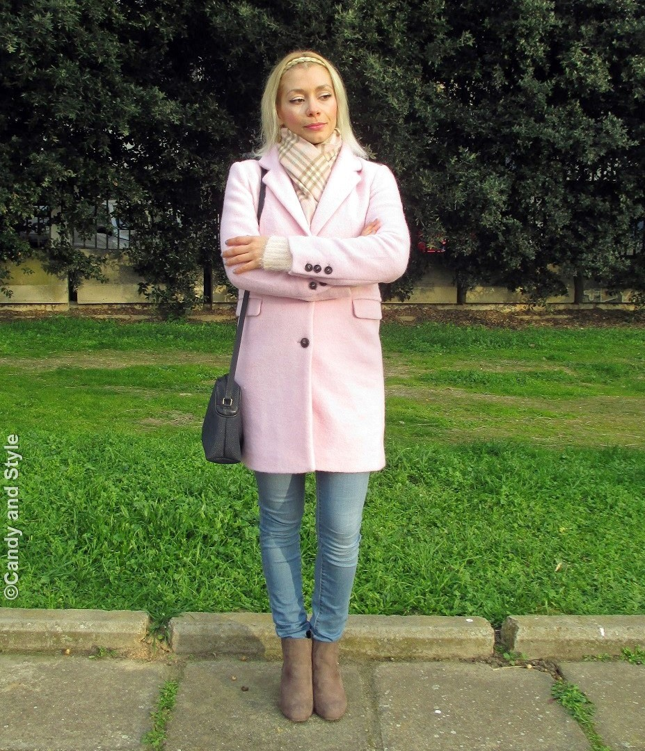PinkCoat+PlaidScarf+FluffySweater+SkinnyJeans+BeigeBooties+BlueBag+BraidHeadband - Lilli Candy and Style Fashion Blog