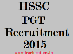 image : HSSC PGT Recruitment 2015 @ TeachMatters.in