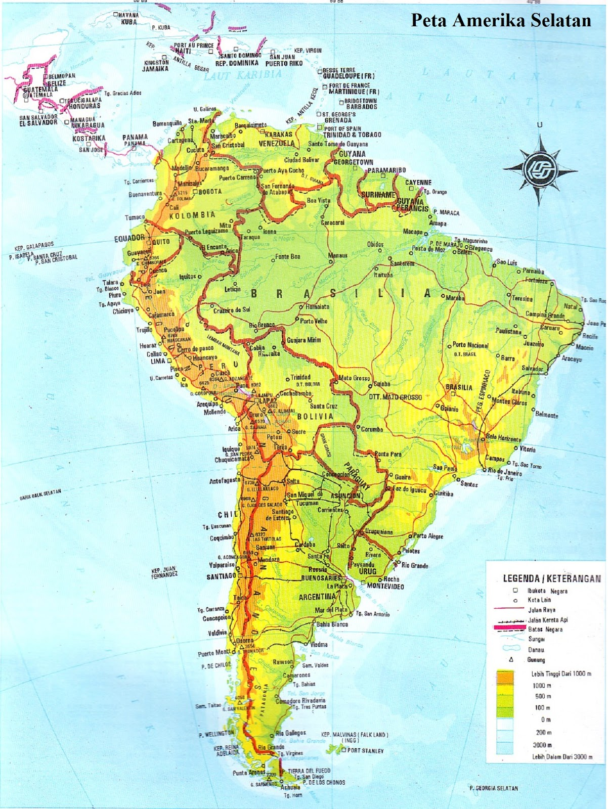 Peta Amerika Selatan