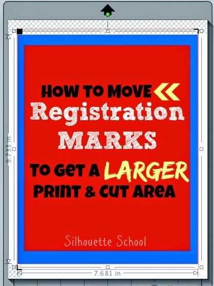 silhouette studio registration marks, silhouette studio larger print and cut area, silhouette studio move registration marks