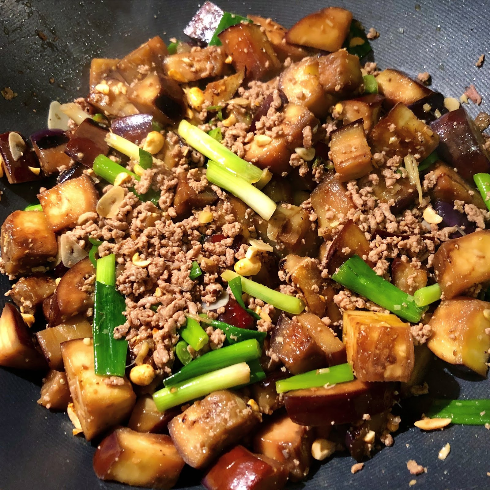 Stir Fried Pork with Ginger, Spring Onion and Aubergine