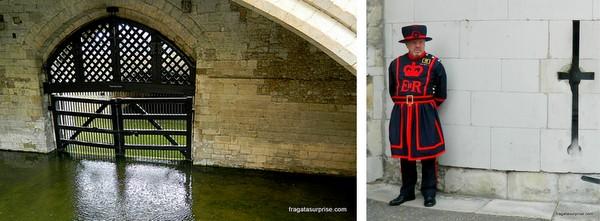 """O """"Portão dos Traidores, na Torre de Londres, e um Beefeater, membro da guarda da torre"""