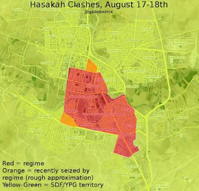 posisi rezim adan milisi kurdi di Hasakah