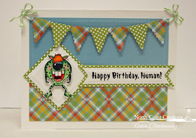 North Coast Creations Stamp Set: Little Monsters, North Coast Creations Custom Dies: Monster, Our Daily Bread Designs Custom Dies: Pennant Flags, Double Stitched Pennant Flags, Squares, Double Stitched Squares, Double Stitched Rectangles, Pennant Row, Our Daily Bread Designs Paper Collection: Birthday Bash