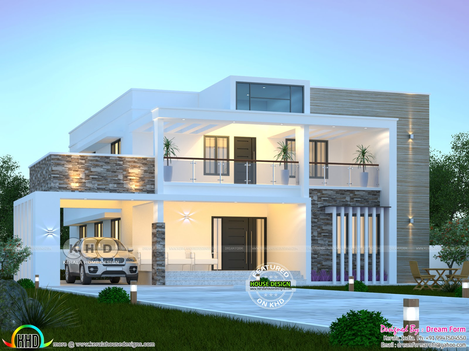 3050 Square Feet 4 Bedroom Modern Flat Roof House Kerala Home Design Bloglovin