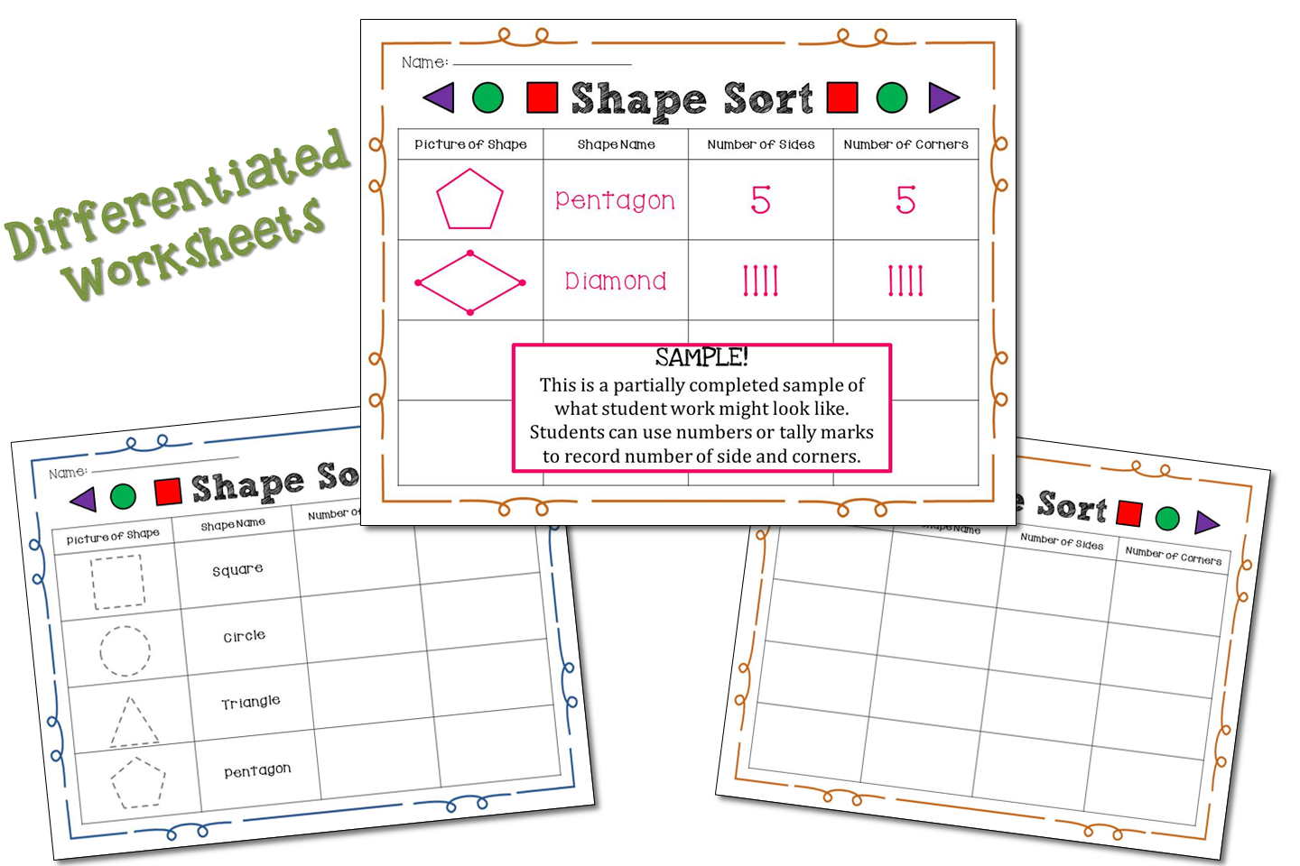 Shape Sort Worksheet