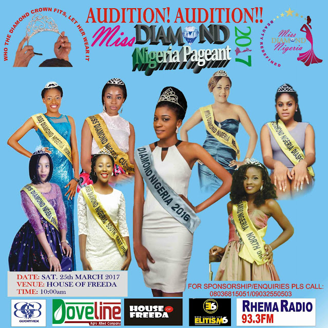 Miss Diamond Nigeria Pageant audition to hold at HOUSE OF FREEDA