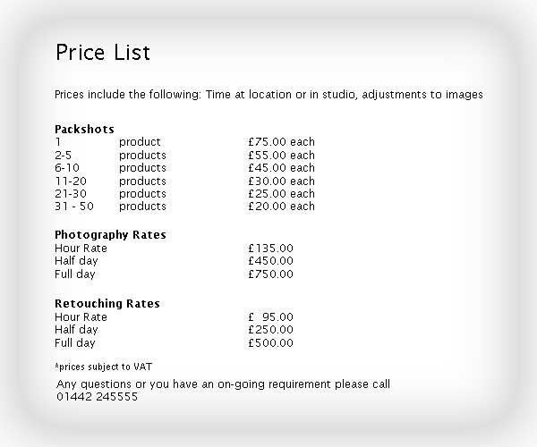 Packshot photography price list & commercial photography