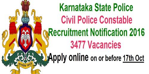 Karnataka Civil Police Constable (Men & Women) Recruitment