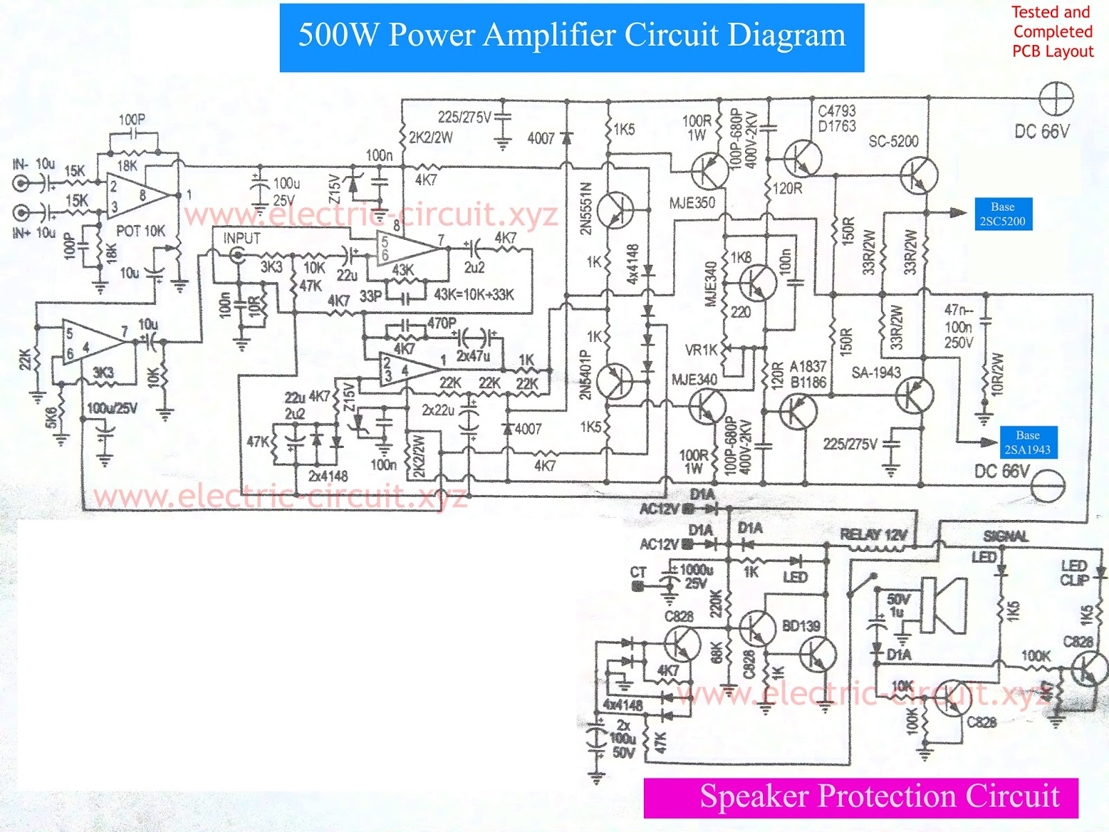 Power Amplifier 500W with Speaker Protection circuit diagram