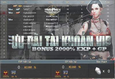 Bonus lên đến 20 lần EXP và GP truy kích