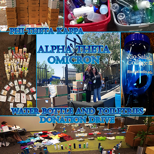 composite of images from the PTK drive of donations being sorted.  Text: Water Bottle and Toiletries Donation Drive.