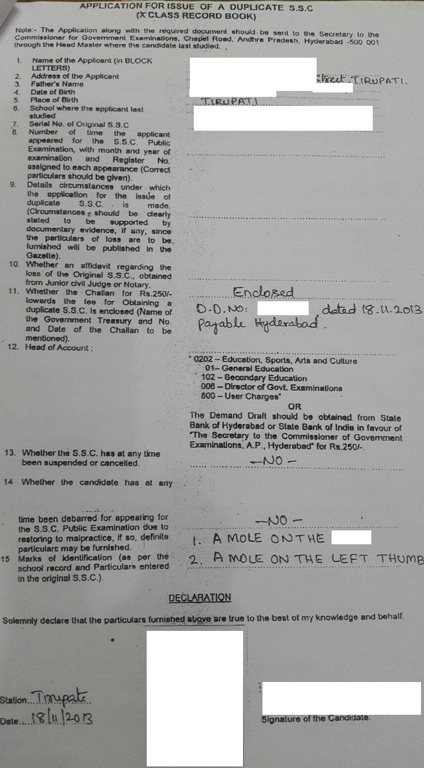 Regain Lost Certificate Andhra Pradesh Telugu Tourism - Www