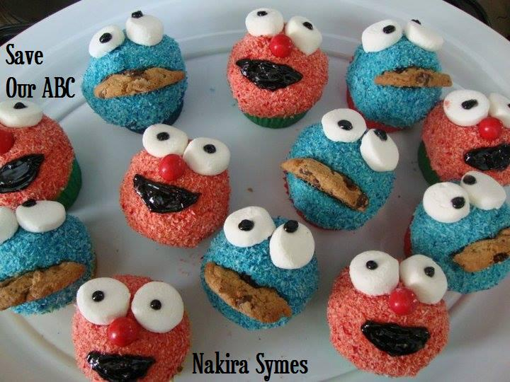 Cookie Monster and Elmo Cupcakes  Save our ABC