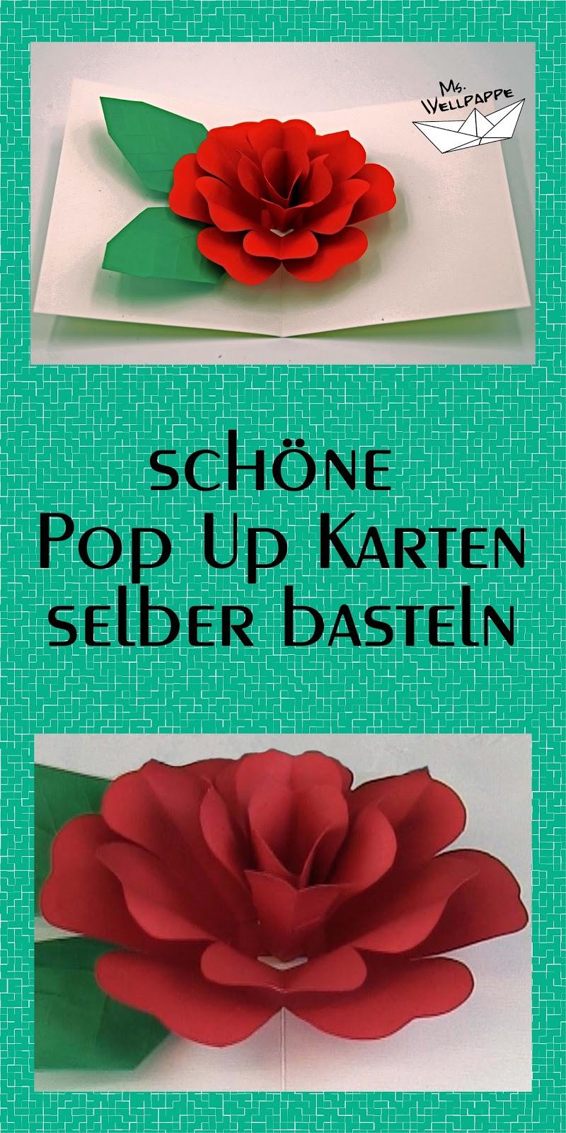 Basteln Und Mehr Pop Up Karte Rose Basteln Mit Papier Diy