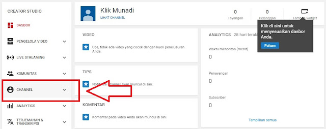 Klik Menu Channel
