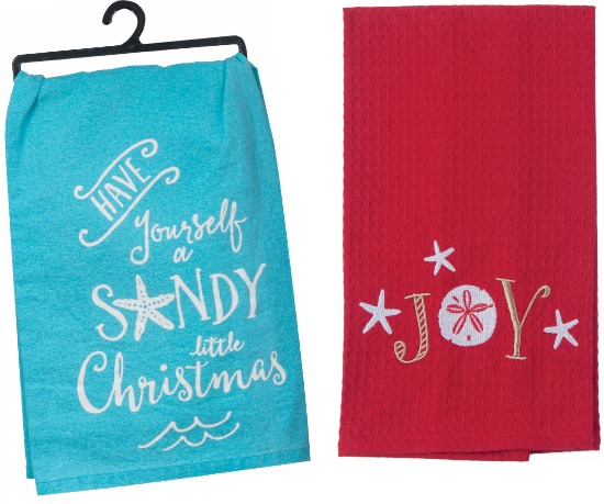 Blue and Red Beach Christmas Kitchen Towels