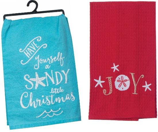 Beach Christmas Towels with Sayings  Beach Home Decor