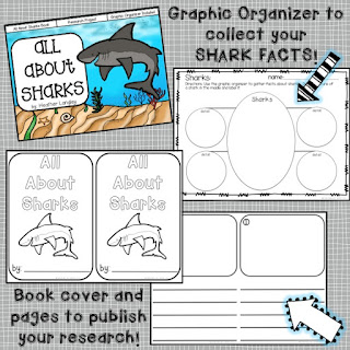 All About Sharks freebie!  This set has a little book to teach about sharks, graphic organizer to write about sharks, and a book to publish your own!