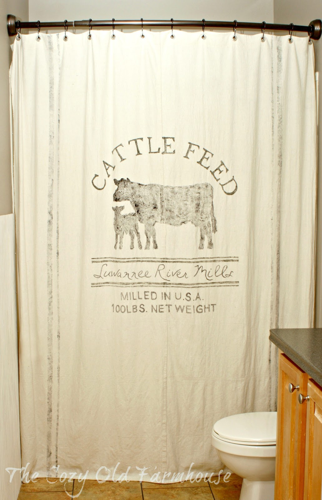 The Cozy Old Farmhouse Painters Dropcloth Becomes DIY Grain Sack Shower Curtain