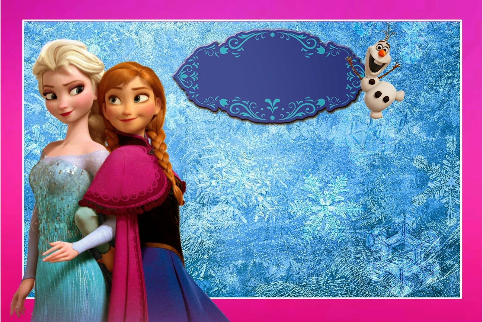 Frozen Free Printable Kit With Fucsia Border Oh My