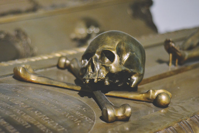 Bronze skull and crossbones