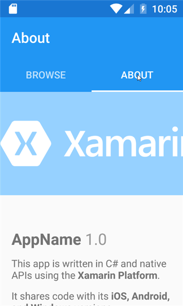 Xamarin Template project Tabbed