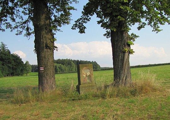 Kapliczka między drzewami.