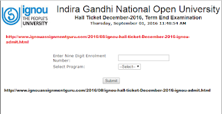 DOWNLOAD IGNOU HALL TICKET December 2016