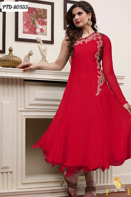 Red Color Off Solder Bollywood Anarkali Designer Salwar Suits and Dresses Online Shopping With Price Online Collection