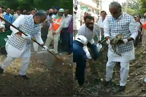 minister-krishanpal-gurjar-clealing-drive-in-badkhal-area-news