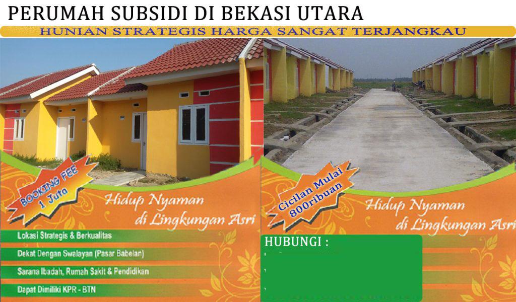 Perumahan Subsidi Bekasi Utara 2017 Mustika Permai Babelan