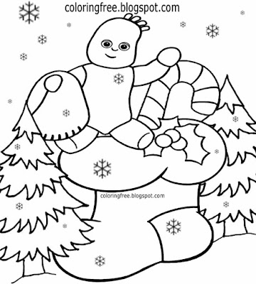 Hello Igglepiggle in the night garden characters beginner easy coloring Christmas stocking drawings