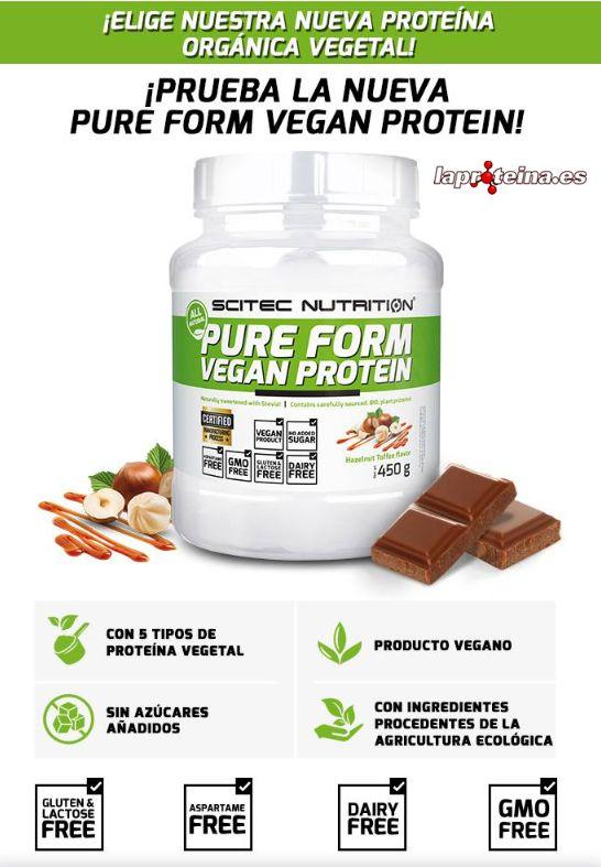 96ee2d3e9 Pure Form Vegan Protein tiene un porcentaje de proteínas superior al 65%  con menos de 2 gramos de carbohidratos y de grasas por cada 100 gramos.