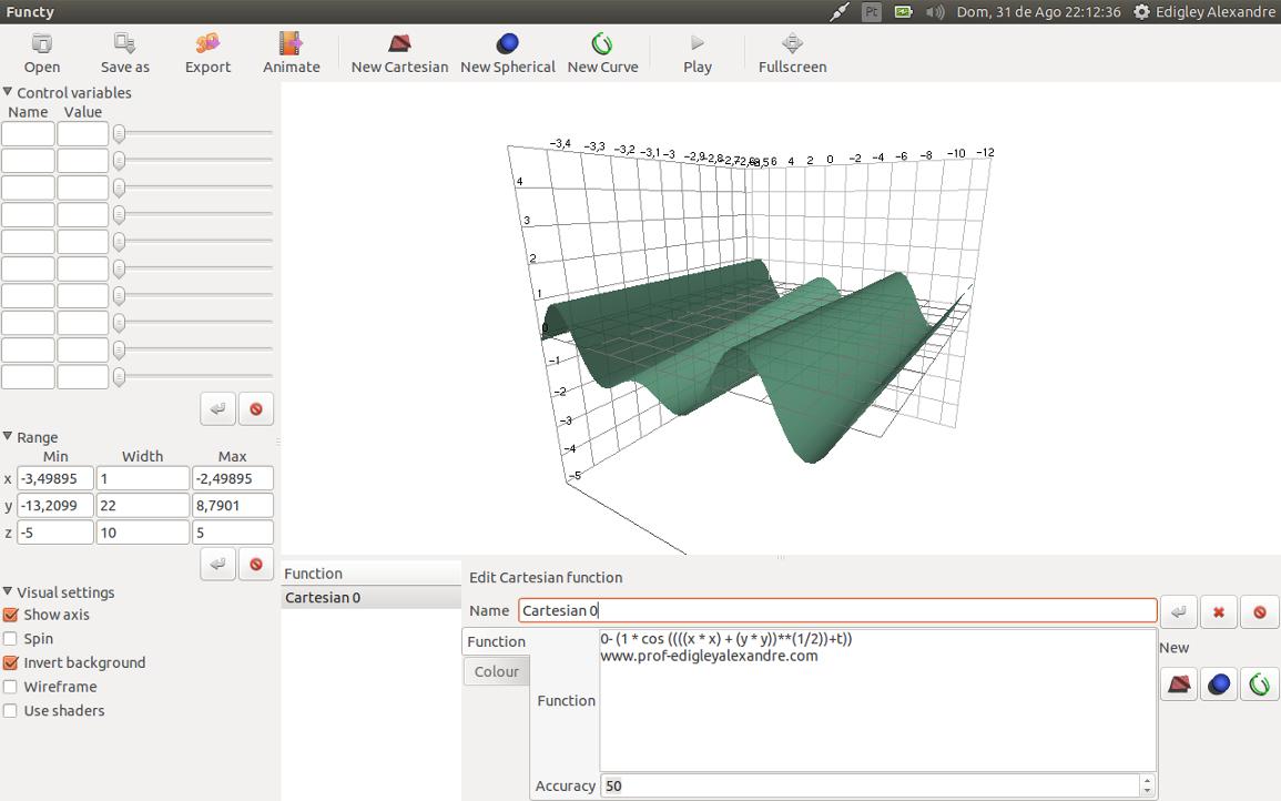 Software Livre para criar gráficos de funções matemáticas em três dimensões