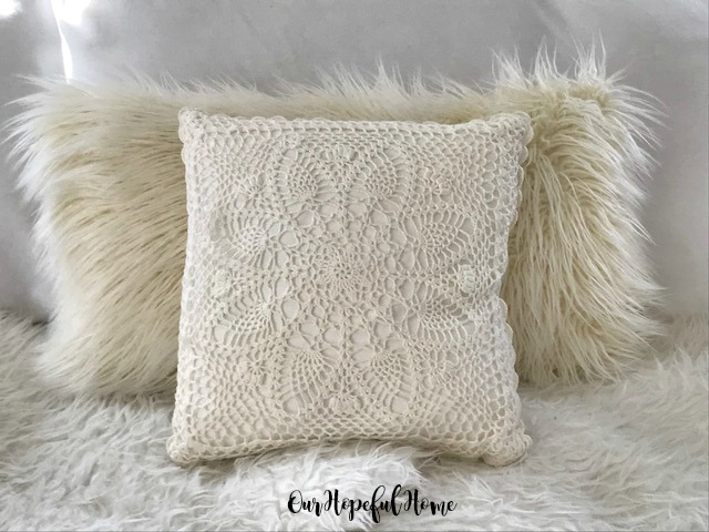 hygge pillows faux mongolian shhepskin crocheted vintage