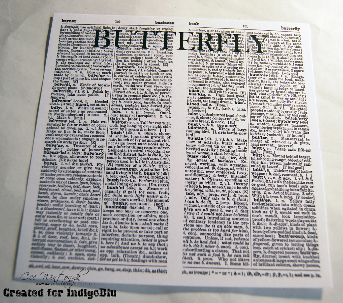 I started by scanning the page in a dictionary that had the definition for Butterfly on it - look closely and you can see it down on the bottom right.  sc 1 st  IndigoBlu Blog & IndigoBlu Blog: Dictionary Butterfly
