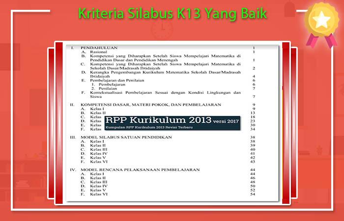 Kriteria Silabus K13 Yang Baik