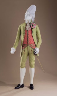 The Macaroni ensemble: Man's Three-piece Suit, ca. 1770. Sword with Chatelaine, late 18th century. Men's Pair of Shoe Buckles, late 18th century (LACMA)