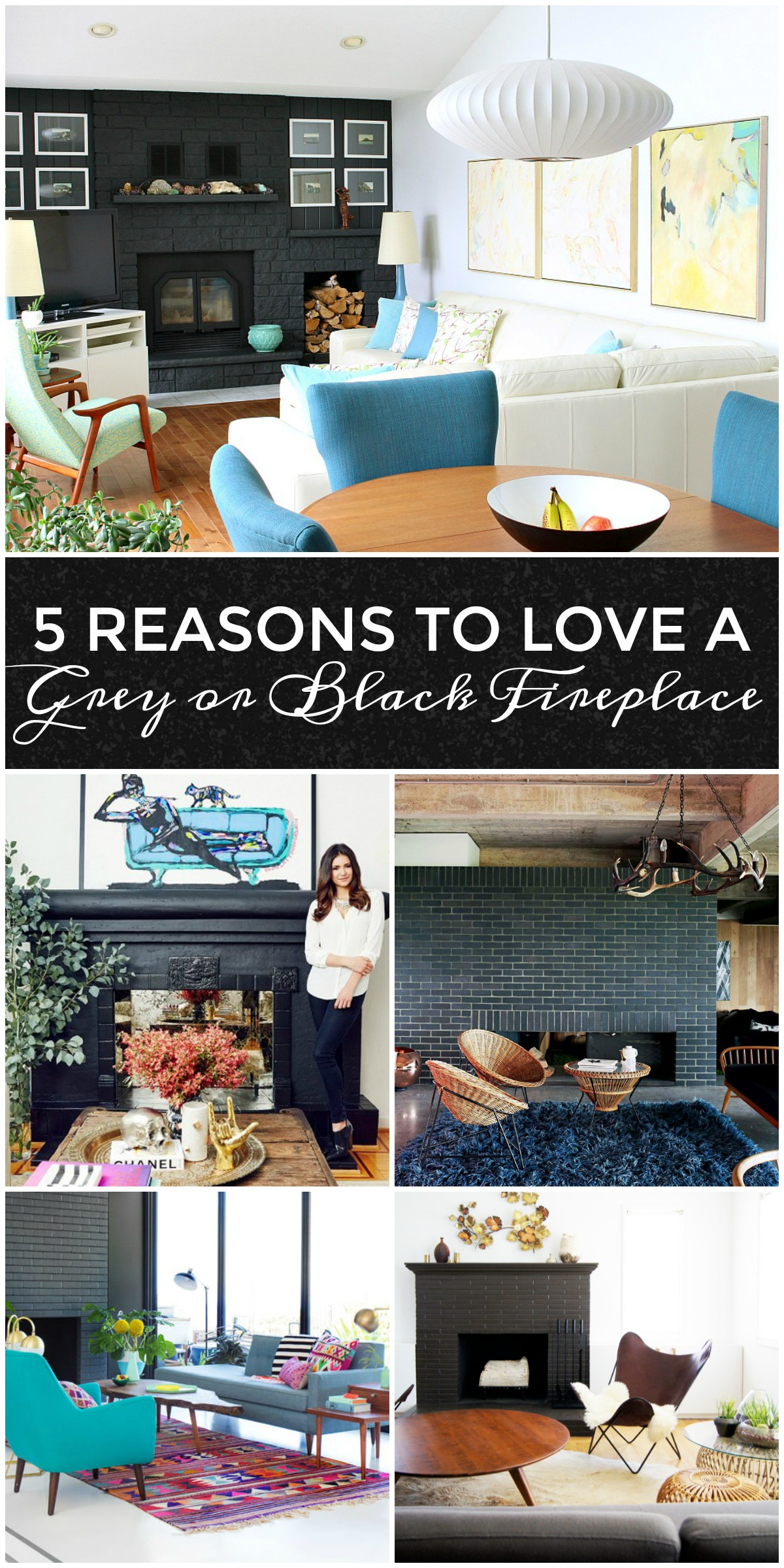 5 Reasons to Love a Dark Grey or Black Fireplace PLUS 10 Dark Fireplace to Love | www.danslelakehouse.com