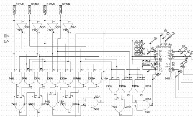 Circuito codificador ALU 74181