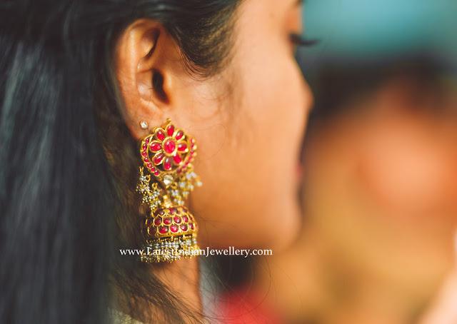 Kundan Ruby Jhumka