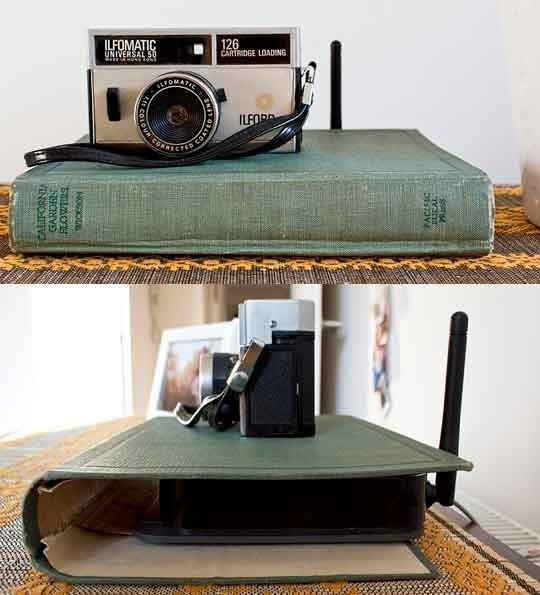 budget decorating, use a book to hide a router